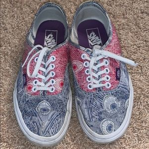 Red and Blue patterned vans